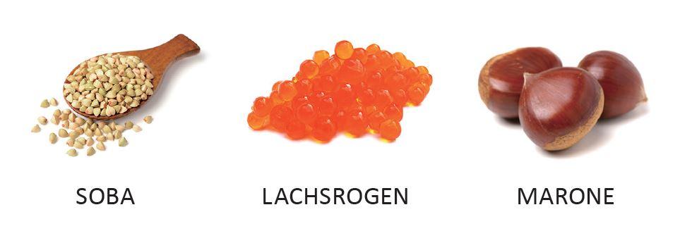 Herbstzutaten: Soba, Lachsrogen. Marone