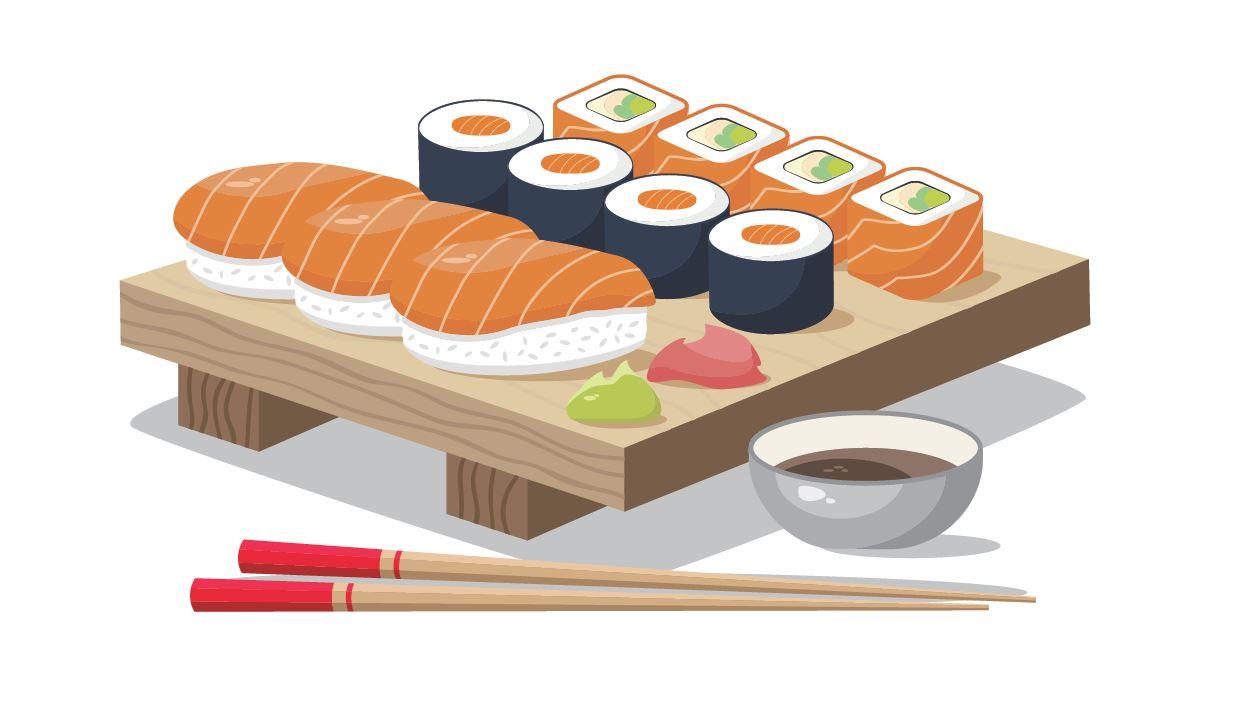 Grafik: eine Sushi Platte mit verschiedenen Sorten