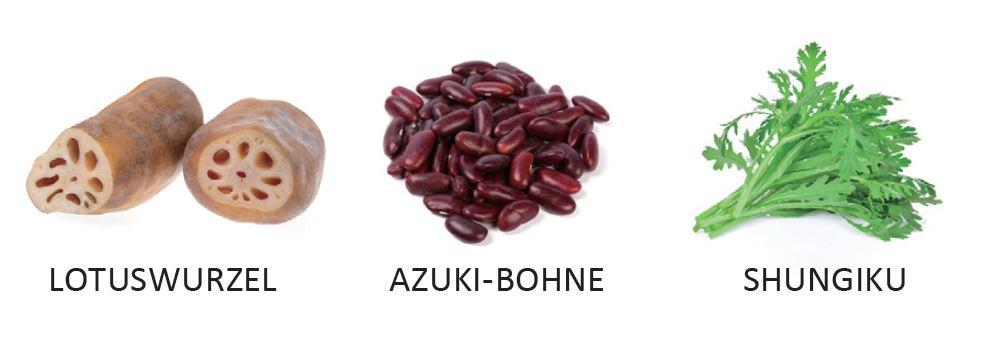 Winterzutaten: Lotuswurzel, Azuki-Bohne, Shungiku