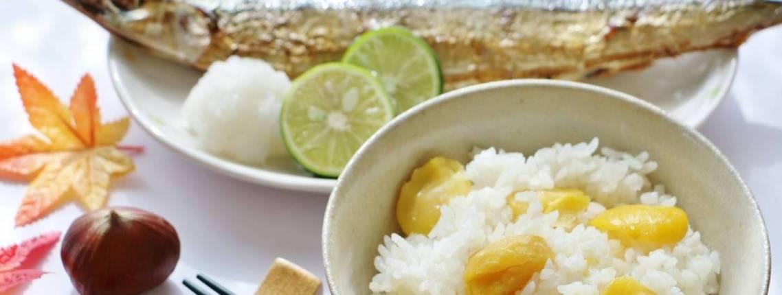 Herbstgerichte der japanischen Küche: Maronenreis und gegrillter Makrelenhecht.