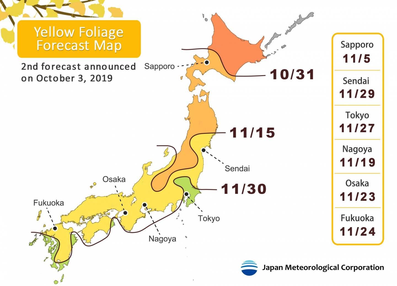 2. Vorhersage für Ginko Laubfärbung in Japan 2019