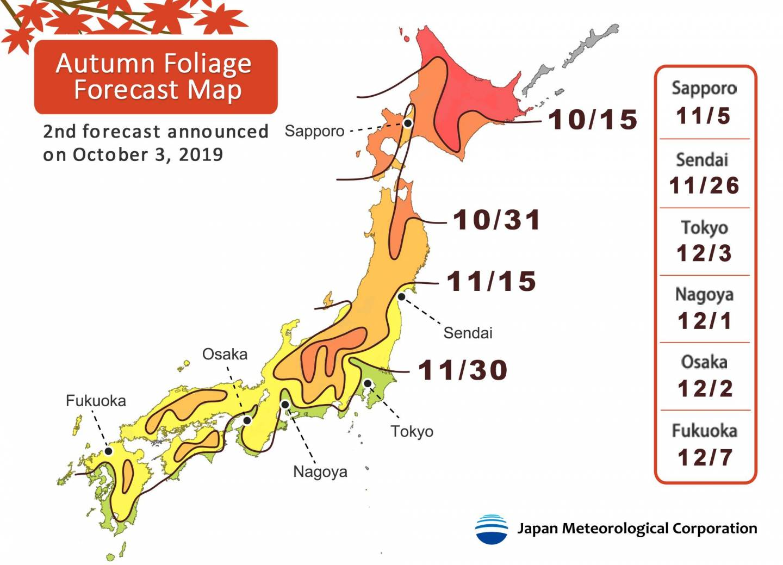 2. Vorhersage für Ahornlaubfärbung in Japan 2019