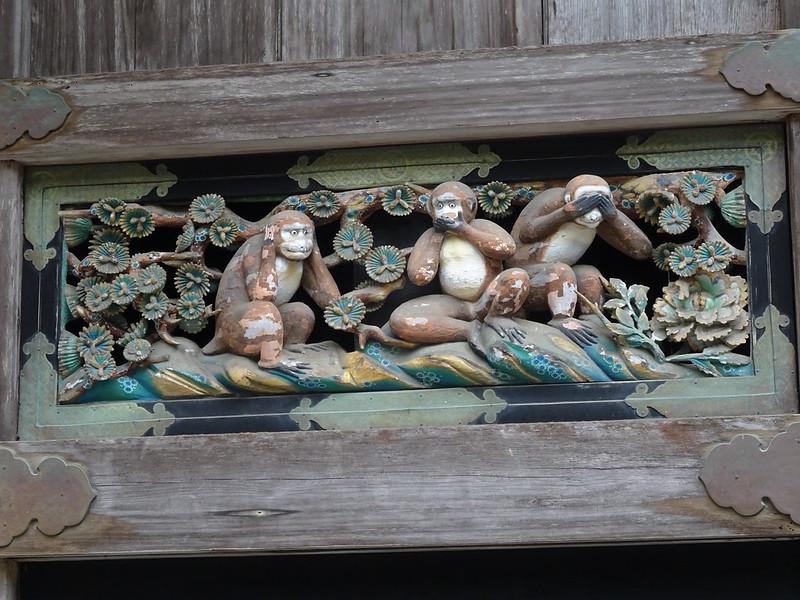 """Schnitzerei der """"drei Affen, die nichts Böses sehen, hören und sagen"""" in Nikkō"""