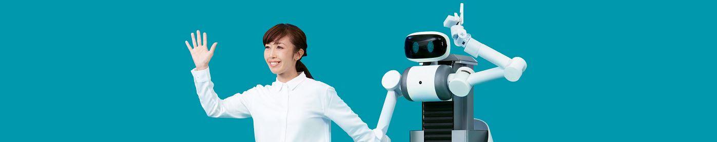 Fotoausschnitt Roboter Ugo mit Frau