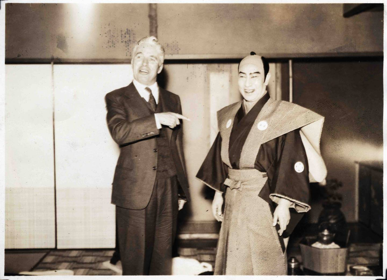 Charlie Chaplin mit Kabuki-Schauspieler Nakamura Kichiemon I.