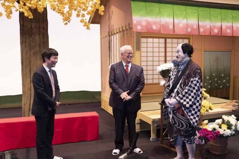 Hiroyuki Ono mit Eugene Chaplin und Koshiro Matsumoto.