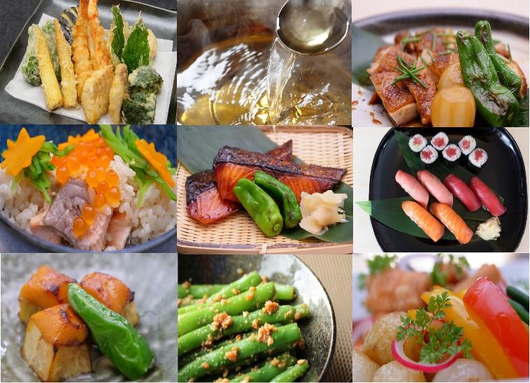 Collage: Fotos von Japanischen Gerichte