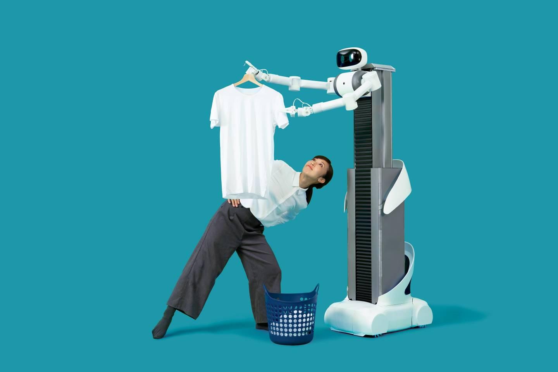 ugo beim Wäsche aufhängen