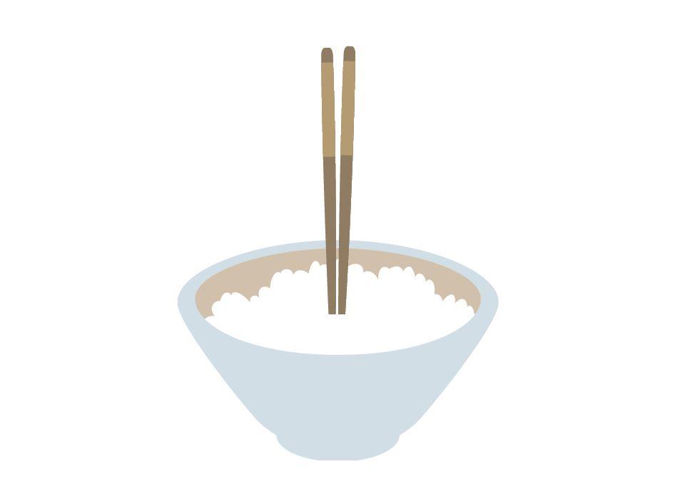 Stäbchen senkrecht in den Reis stecken