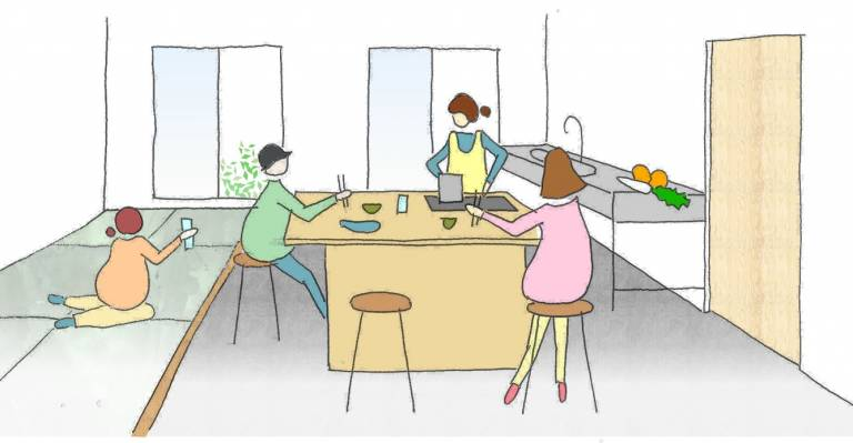 Grafik von Nikoichi: Bewohner in der Küche