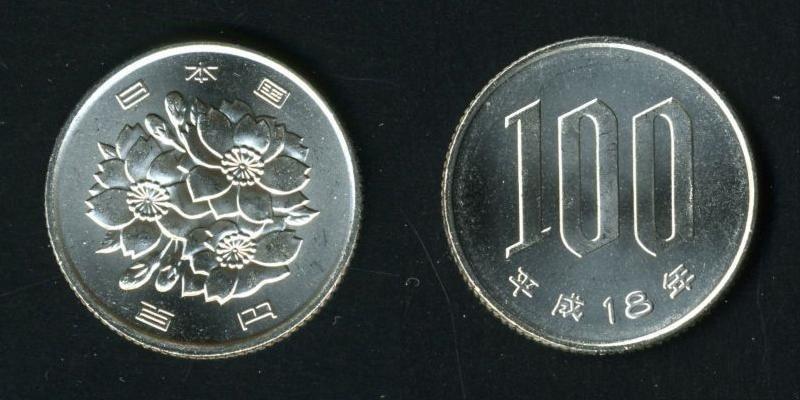 Vorder- und Rückseite einer 100 Yen Münze