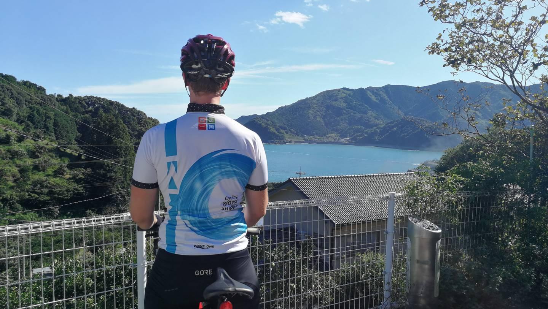 Michael Drewing im Tourtrikot auf Shikoku