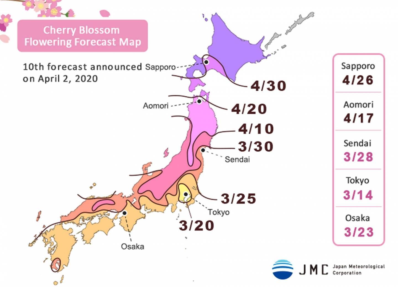 Kirschblütenvorhersage für Japan 2020 (2. April)