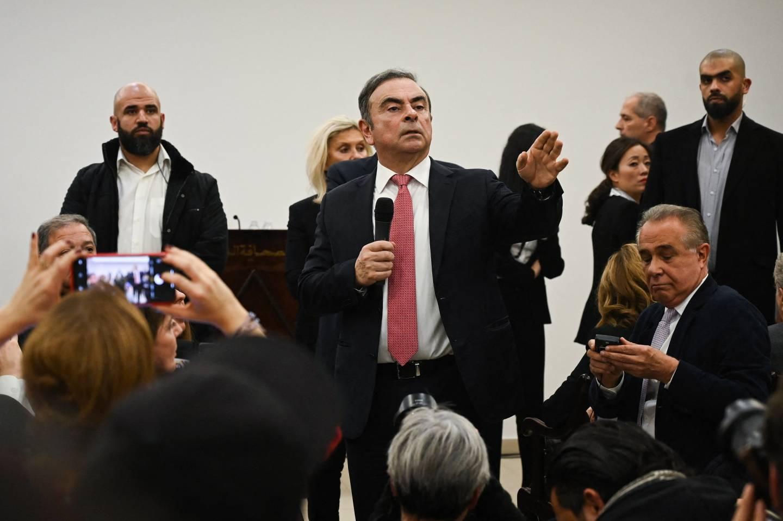 Carlos Ghosn bei einer Pressekonferenz im Libanon