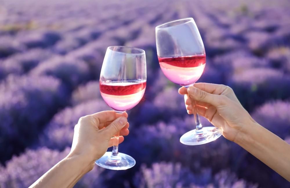 Zwei Menschen, die mit Weingläsern anstoßen
