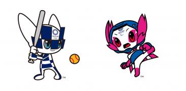 Die Maskottchen Miraitowa und Someity der Olympischen und Paralympischen Spiele