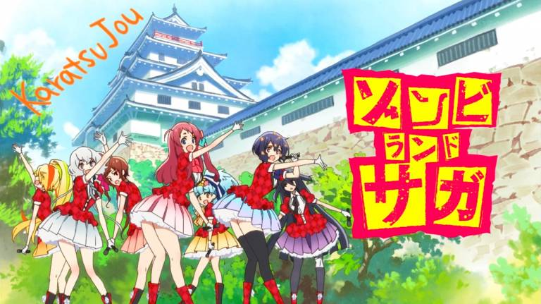 Anime Zombie Land Saga vorm Schloss Karatsu