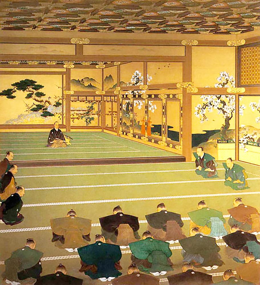 Versammlung der Clanfürsten und Vertreters im Schloss Nijō in Kyōto