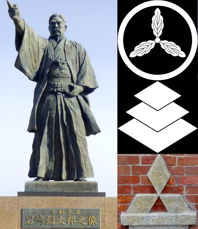 Iwasaki Statue und Logos