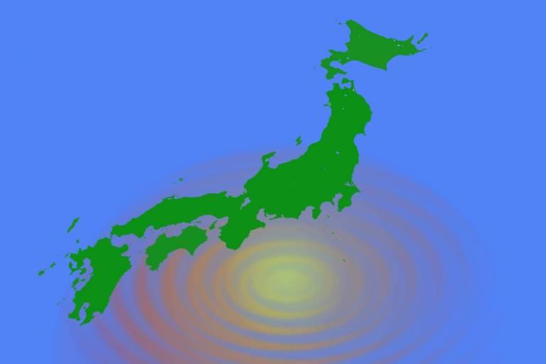 Japan-Karte mit Epizentrum eines Erdbebens