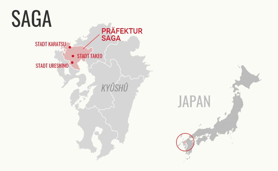 Karte von der Präfektur Saga