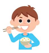 Männchen beim Reis Essen
