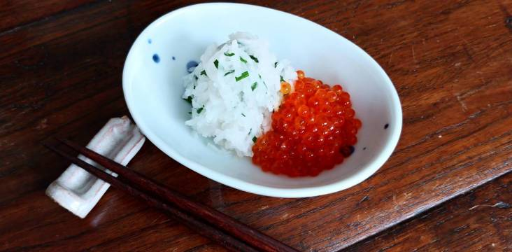 Ikura oroshi: Marinierter Fischkaviar mit Rettich