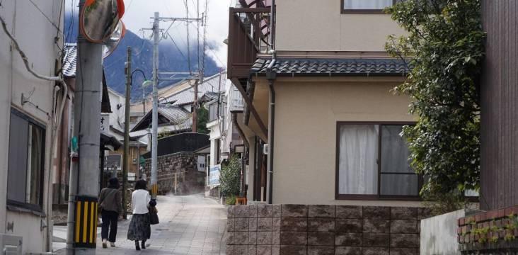 Straßenszenerie in Beppu, Kannawa