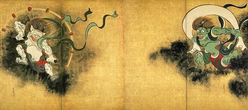 Japanische Götter Raijin und Fûjin
