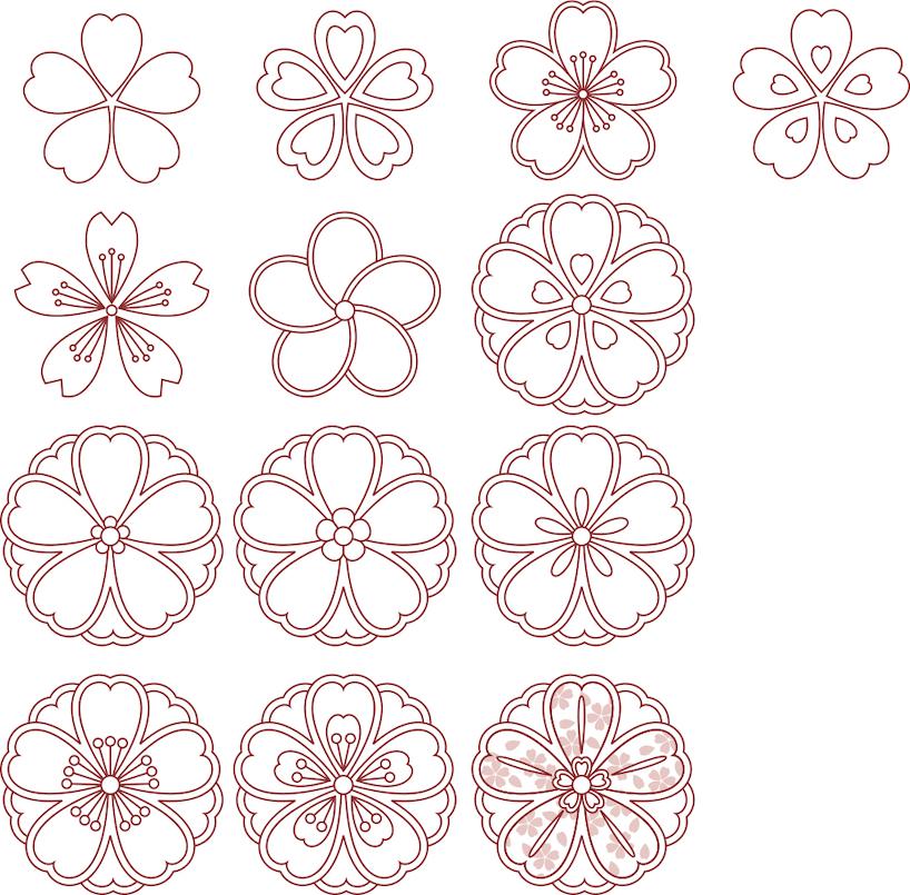 Kirschblütenmuster (verschiedene Formen)