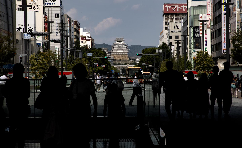 Blick auf Burg Himeji vom JR-Bahnhof aus