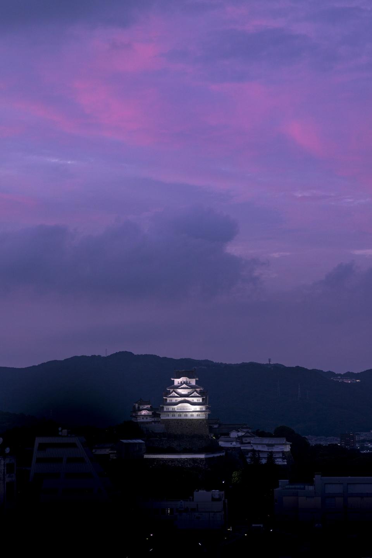 Burg Himeji im Abendrot