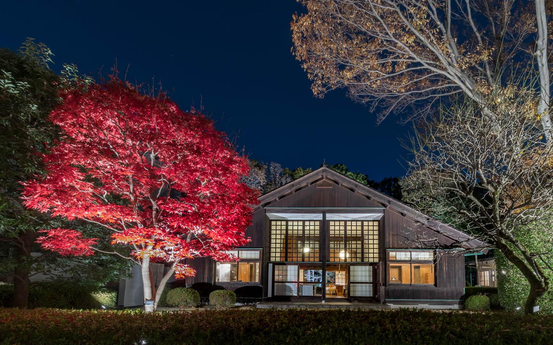 Rotes Herbstlaub vor historischem Gebäude in Koganei