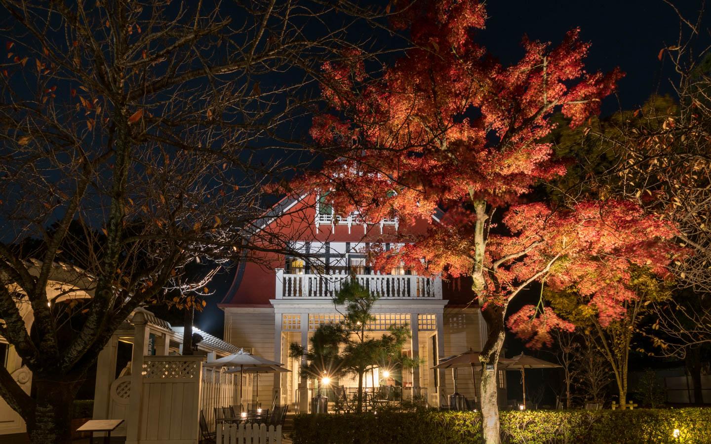 Herbstlaub vor historischem Haus in Koganei