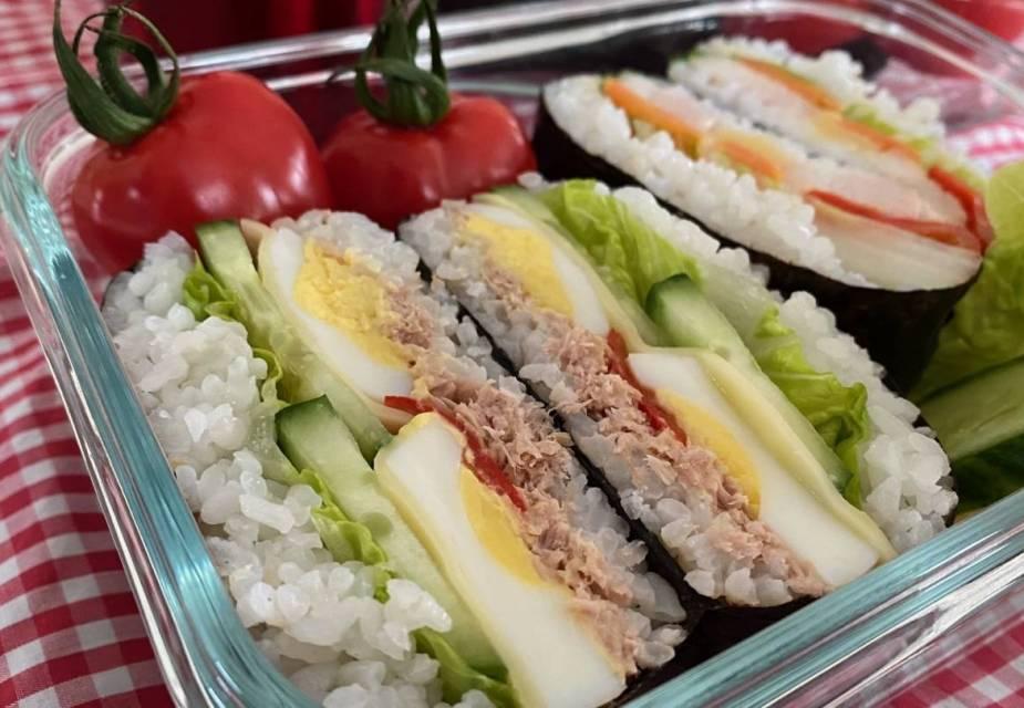 Lunchbox mit Reissandwiches