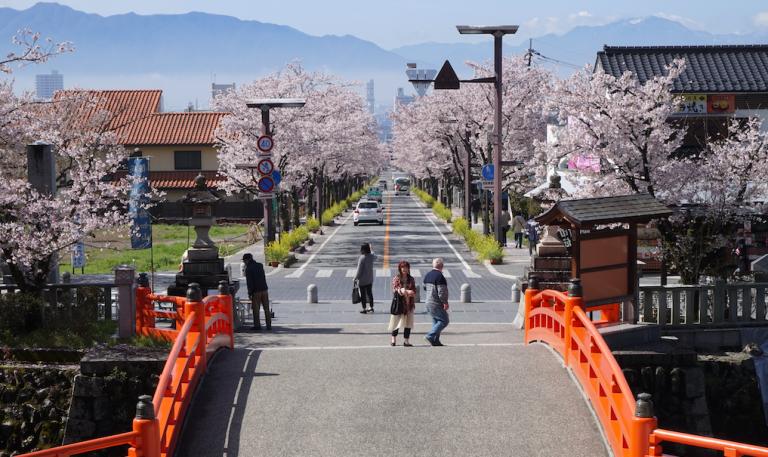 Brücke mit rotem Gelände beim Takeda-Schrein, Kirschblüten