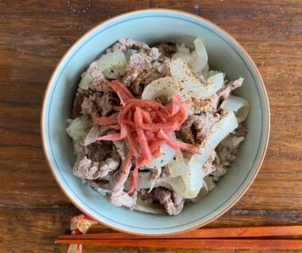 Gyū-don (Reis mit Rindfleisch)