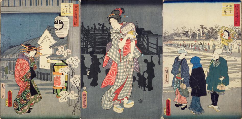 Verschiedene Ukiyo-e-Kunstwerke mit Menschen in traditioneller Kleidung mit Asa no ha-Muster