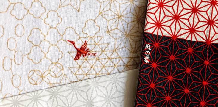 Verschiedene japanische Handtücher (tenugui) mit Asa no ha-Muster