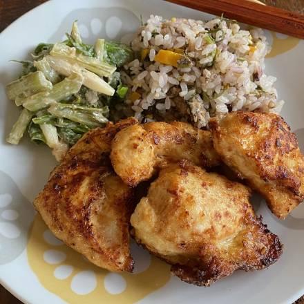 """Hähnchenbrust """"Age-Yaki"""" auf weißem Teller angerichtet mit Reis und Gemüse"""